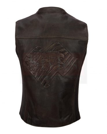 Wilsons Leather Vintage Embossed Flag Leather Vest Fashion Collection Free Shipping