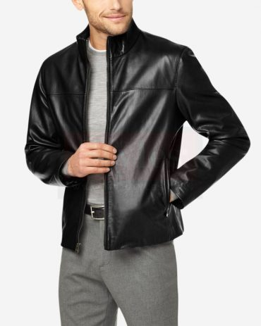 Cole Haan Washed Men's Black Leather Jacket Fashion Collection Free Shipping