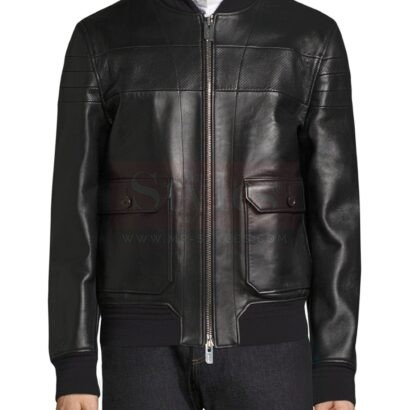 Bally Men's black leather jacket Fashion Collection Free Shipping