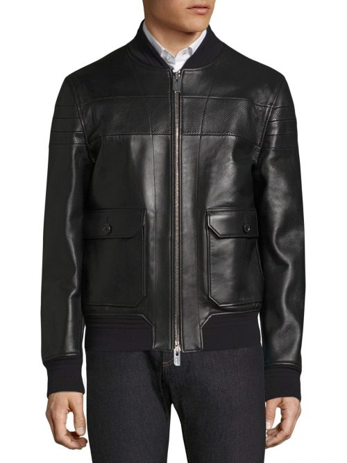 Beautiful Style Bally Men's Black Leather Jacket Fashion Collection Free Shipping