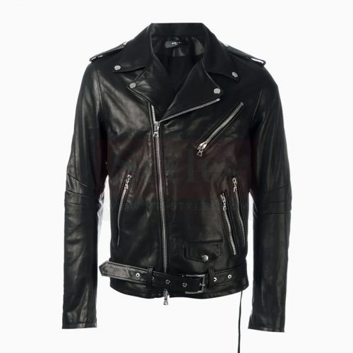 Special Vintage Leather Biker Jacket With Printed Sleeves Motorbike Jackets Free Shipping