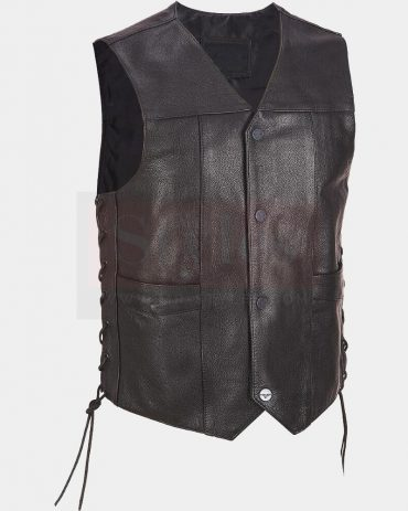 Wilsons Leather Performance Lace-Up Motorcycle Leather Vest Fashion Collection Free Shipping