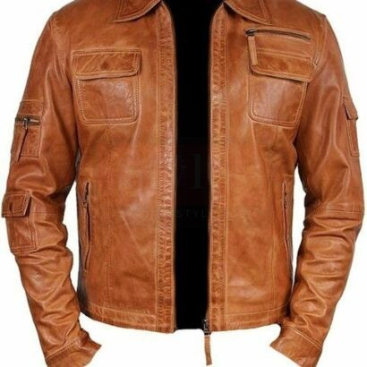 Men Leather Jacket Brown Lambskin Leather Stylish Moto Jacket All Size Fashion Collection Free Shipping