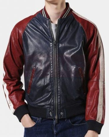 Diesel L-Truly Leather Bomber Leather Jacket Mens Fashion Jackets Free Shipping