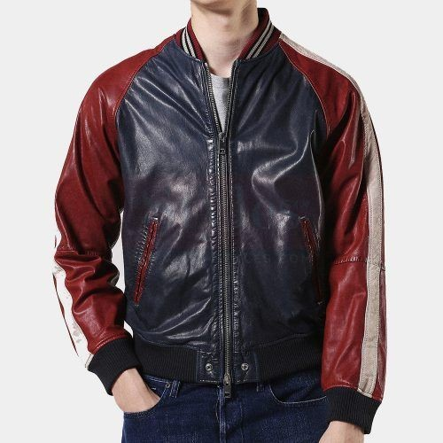 Diesel L-Truly Leather Bomber Leather Jacket Mens Fashion Collection Free Shipping