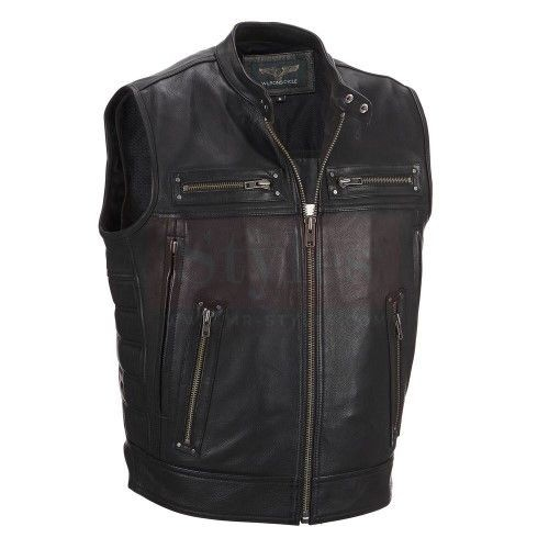 Wilsons Leather Performance Padded Motorcycle Vest Fashion Collection Free Shipping