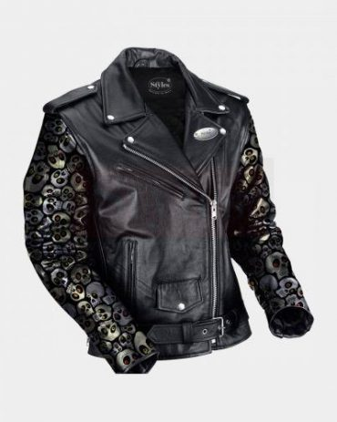 Black Leather Biker Jacket With Skull Printed Sleeves MotoGP Leather Jackets Free Shipping
