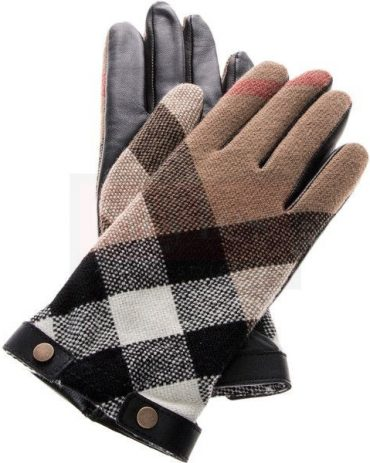 Burberry Check Wool And Leather Touch Screen Gloves Fashion Collection Free Shipping