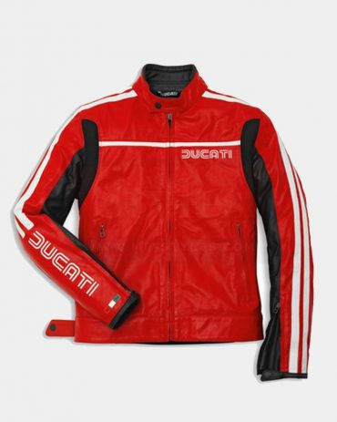 Red Men's Motorcycle Leather Jackets-Ducati Replica Motorcycle Collection Free Shipping