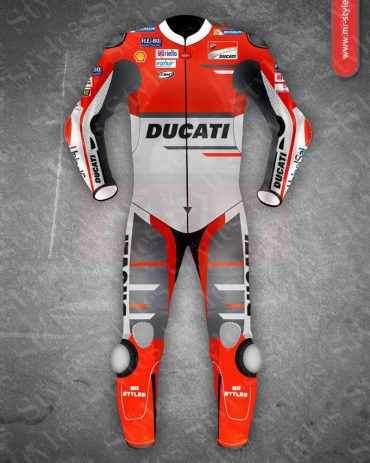 Andrea Dovizioso Ducati MotoGP 2018 Leather Suit Black Andrea Dovizioso Suits Free Shipping