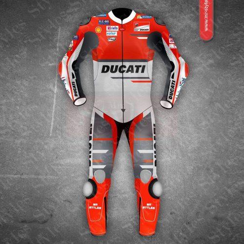 Andrea Dovizioso Ducati MotoGP 2018 Leather Suit Black Andrea Dovizioso Suits Free Shipping