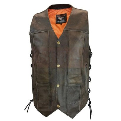 Men's Distressed Brown Leather Premium Cowhide Vest Fashion Collection Free Shipping
