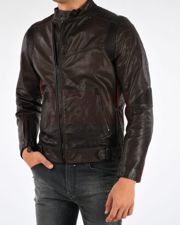 Diesel Sovit-Ed Men's Leather Field Jacket Fashion Collection Free Shipping