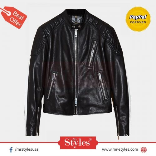 Burberry Smooth Men's Small Leather Jacket Leather Fashion Jackets Free Shipping