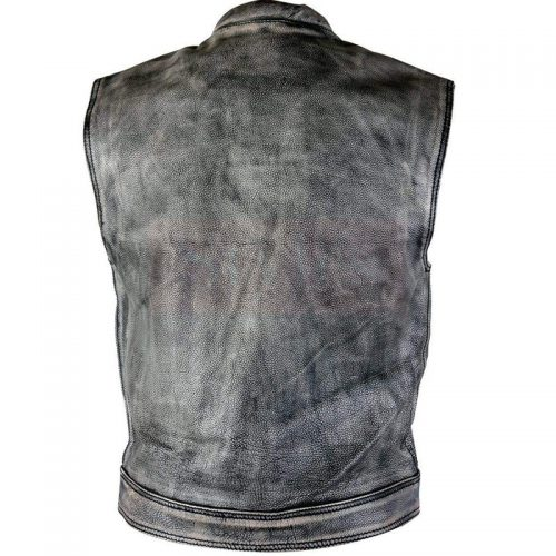 Men's Distressed Gray Leather Premium Cowhide Vest Fashion Collection Free Shipping