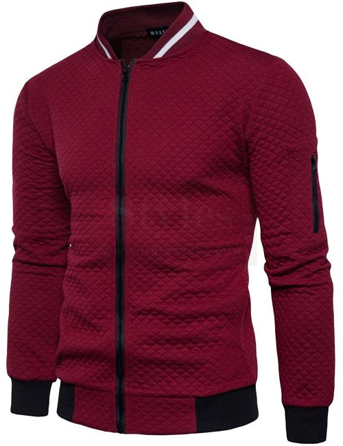 Whatlees Mens Casual Soft Lightweight Zip Up Baseball Collar Bomber Jacket With Diamond Plaid Fashion Collection Free Shipping