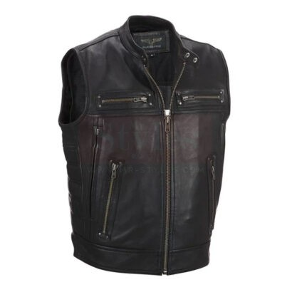 Wilsons Leather Cycle Performance Patchwork Leather Vest Fashion Collection Free Shipping