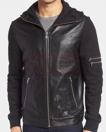 la Marquee leather & jersey bomber jacket Fashion Collection Free Shipping