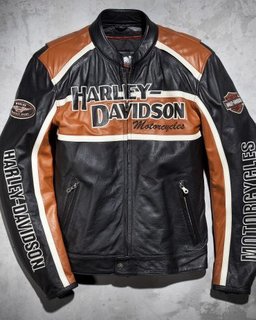 Harley Davidson Orange and Black Leather Jacket Motorbike Jackets Free Shipping