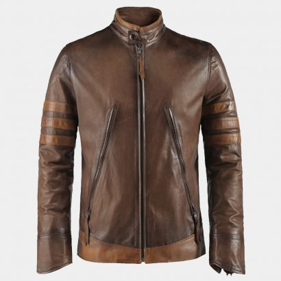 Antiqued Italian Leather Jacket Brown Fashion Collection Free Shipping