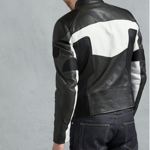 Birbeck Jacket in Black White Vintage Leather Coats For Men Fashion Collection Free Shipping