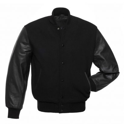 BLACK WOOL BLACK LEATHER Fashion Collection Free Shipping