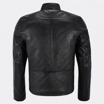 Black Biker Cafe Racer Motorcycle Classic Slim Fit Real Leather Jacket for Men Motorcycle Collection Free Shipping