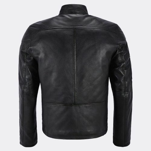 Black Biker Cafe Racer Motorcycle Classic Slim Fit Real Leather Jacket for Men Motorbike Jackets Free Shipping