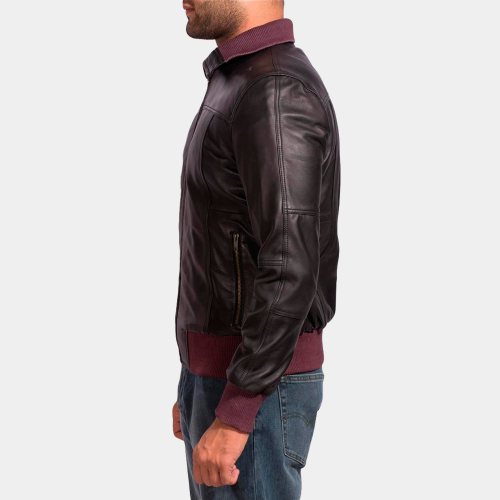 Get in Style With Black Fashion Bomber Jacket Celebrities Leather Jackets Free Shipping