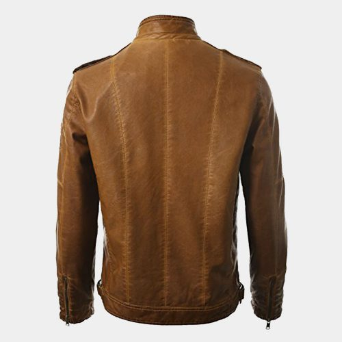 Brown Leather Bomber Jacket Amazon Fashion Collection Free Shipping