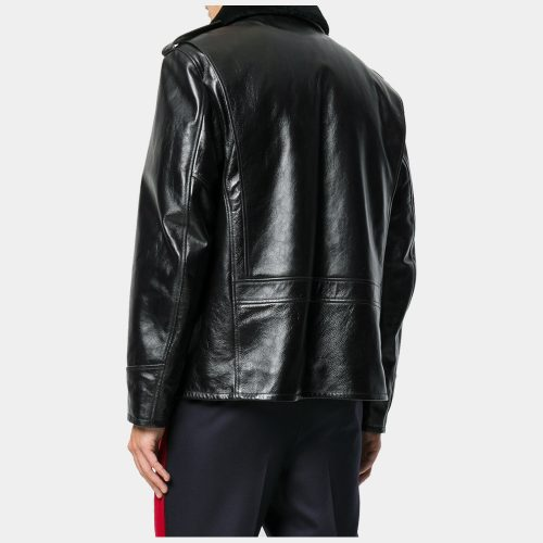 Mens Black leather jacket with wool Fashion Collection Free Shipping