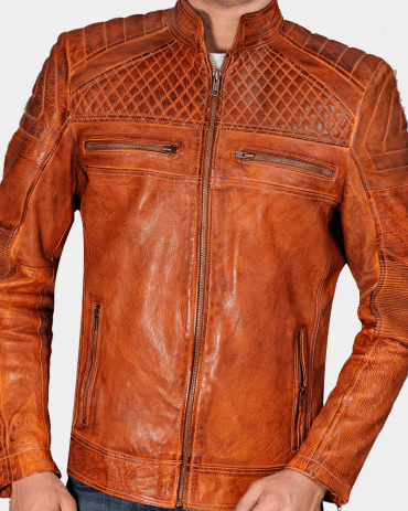 Cafe Racer Classic Cult Waxed Brown Leather Jacket Fashion Jackets Free Shipping