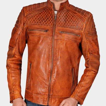 Cafe Racer Classic Cult Waxed Brown Leather Jacket Celebrities Leather Jackets Free Shipping