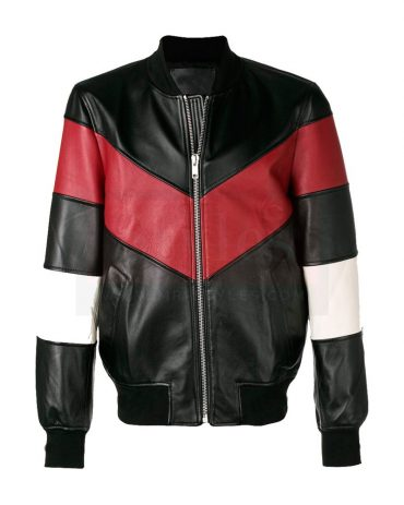 Chevron Stripe Bomber Leather Field Jacket Fashion Jackets Free Shipping