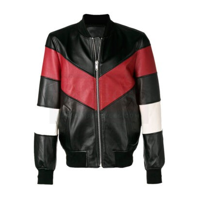 Chevron Stripe Bomber Leather Field Jacket Fashion Collection Free Shipping
