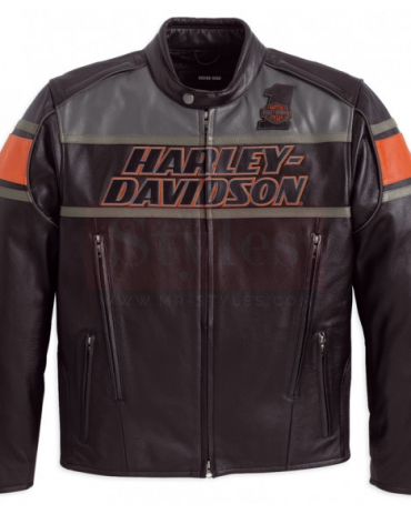 Men's Classic Harley Davidson Rumble Leather Motorcycle Jacket Motorbike Jackets Free Shipping