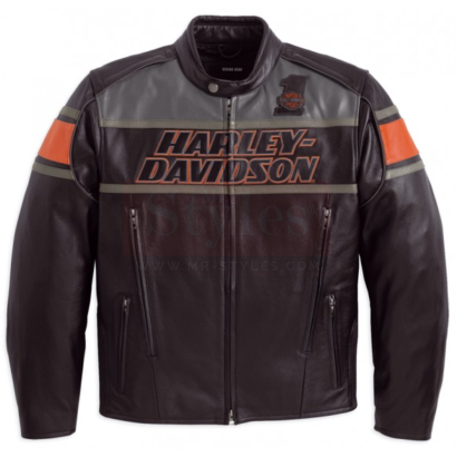 Men's Classic Harley Davidson Rumble Leather Motorcycle Jacket Motorcycle Collection Free Shipping