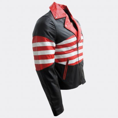 Male Leather Jackets Moto USA Flag Design, High Quality Fashion Collection Free Shipping