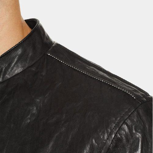 John Varvatos Studded Metal Lambskin Leather Jacket Fashion Collection Free Shipping