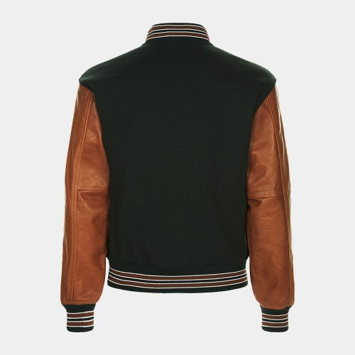 Navy Bomber Jackets With Leather Sleeve Fashion Collection Free Shipping