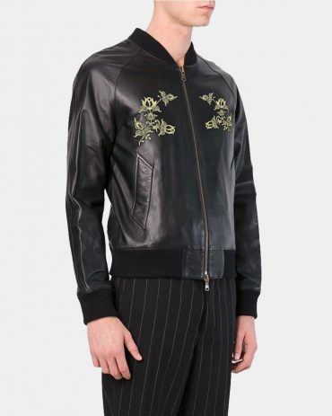 Bomber Jackets with Flower Embroidery Mans Leather Jacket Fashion Collection Free Shipping