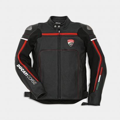 Corse C2 Men's Motorcycle Leather Jacket Black-Ducati Replica Motorcycle Collection Free Shipping