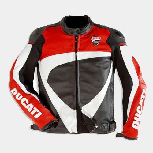 Corse 12 Men's Motorcycle Leather Jacket-Ducati Replica Motorbike Jackets Free Shipping