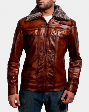 Evan Hart Fur Brown Leather Jacket Fashion Jackets Free Shipping