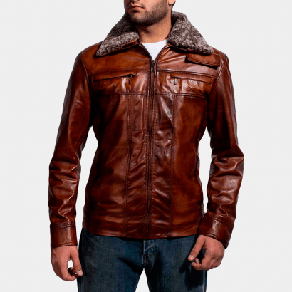 Evan Hart Fur Brown Leather Jacket Celebrities Leather Jackets Free Shipping
