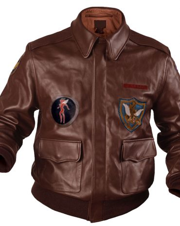 Flying Tigers Fighter Mens Leather Bomber Jacket Brown Fashion Jackets Free Shipping