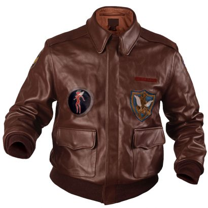 Flying Tigers Fighter Mens Leather Bomber Jacket Brown Fashion Collection Free Shipping