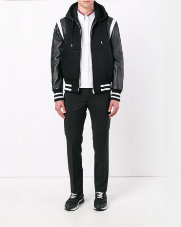 Givenchy Hooded Leather Varsity Jacket Fashion Collection Free Shipping