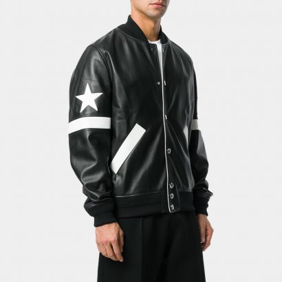 Black Lamb Skin And Wool Blend Star Patch Bomber Jackets Leather Fashion Collection Free Shipping
