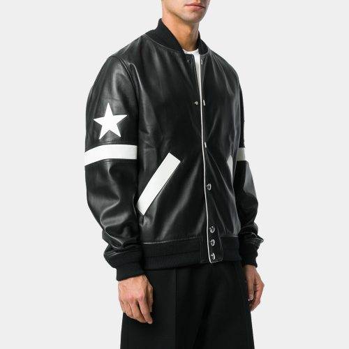 Black Lamb Skin Wool Blend Star Patch Bomber Jackets Leather Fashion Collection Free Shipping